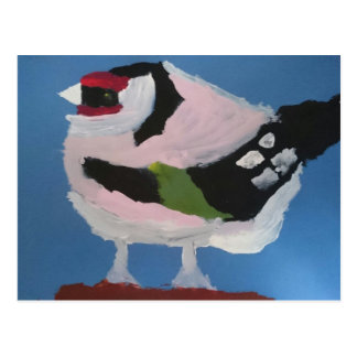 Beautiful abstract bird goldfinch painting postcard