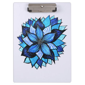 Beautiful Abstract Blue Flower Ink Drawing Clipboard