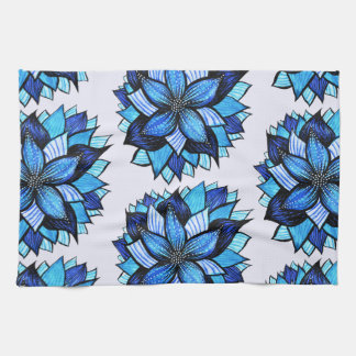 Beautiful Abstract Blue Flower Ink Drawing Pattern Kitchen Towel