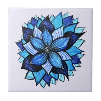 Beautiful Abstract Blue Flower Ink Drawing Tile