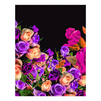 Beautiful Abstract Flowers Black Background Customized Letterhead