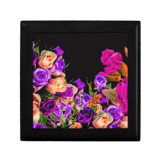 Beautiful Abstract Flowers Black Background Jewelry Box