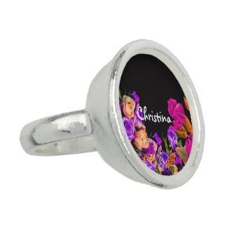 Beautiful Abstract Flowers Black Background Photo Rings