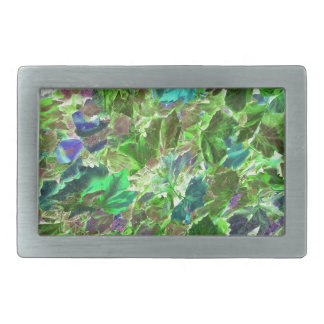 Beautiful Abstract Green Leaves Foliage Belt Buckles