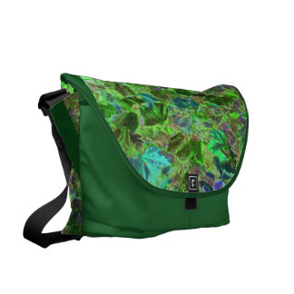 Beautiful Abstract Green Leaves Foliage Commuter Bags