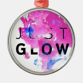 Beautiful Abstract Motivational Quote Just Glow Silver-Colored Round Ornament