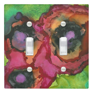 Beautiful Abstract Orange Painted Poppies Art Light Switch Cover
