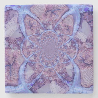 Beautiful abstract purple kaleidoscope stone coaster