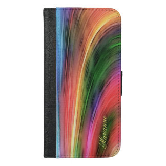 Beautiful Abstract Rainbow Colors Monogram iPhone 6/6s Plus Wallet Case
