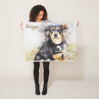 Beautiful Abstract Rottweiler Fleece Blanket