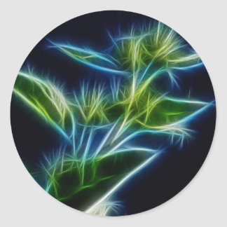 Beautiful Abstract Teal Lime Green Flower Art Round Sticker