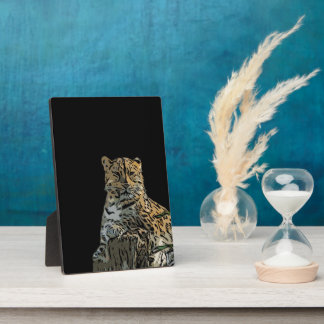 Beautiful Abstract Tiger Black Background Photo Plaques