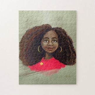 beautiful African American girl artwork Puzzle