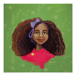 Beautiful  African American girl portrait Poster