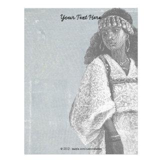 Beautiful African Girl Letterhead Template