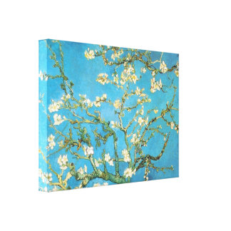 Beautiful almond blossom antique painting blue gre canvas print