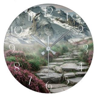 Beautiful alpine mountain landscape hiking walk large clock