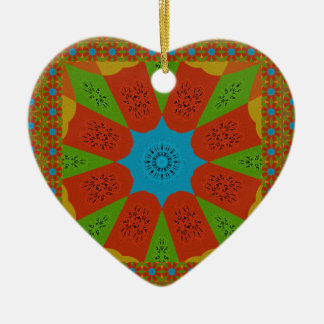 Beautiful Amazing African Feminine Design Colors. Ceramic Heart Ornament