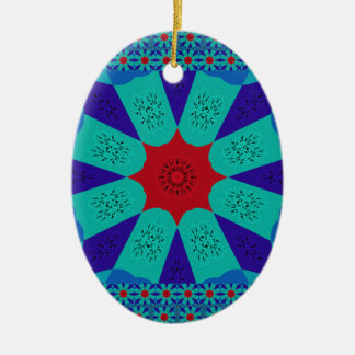Beautiful Amazing Egyptian  Feminine Design Color Ceramic Oval Ornament