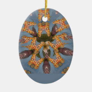 Beautiful amazing Funny African Giraffe pattern de Ceramic Ornament