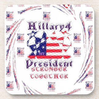 Beautiful Amazing Hillary USA Election Flag Color Drink Coasters