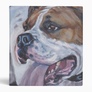 Beautiful american bulldog dog painting 3 ring binder