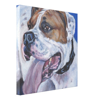 Beautiful american bulldog dog painting canvas print