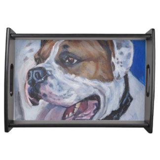 Beautiful american bulldog dog painting serving tray