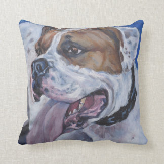 Beautiful american bulldog dog painting throw pillow