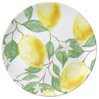 Beautiful and Bright Porcelain Plate with Lemons