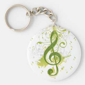 Beautiful and cool music notes with splatter basic round button keychain