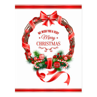 Beautiful and Elegant Christmas Wreath Postcard