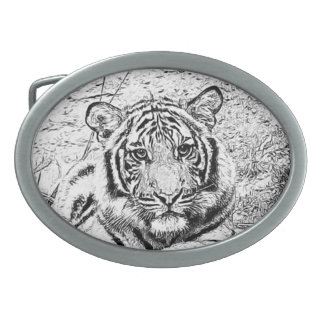 Beautiful and Majestic Bengal Tiger Sketch Belt Buckles