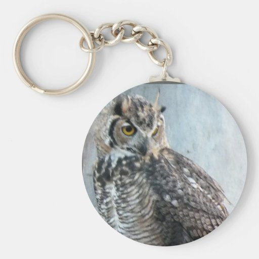 Beautiful and Regal Female Great Horned Owl Keychain