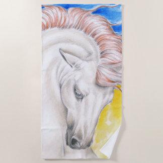 Beautiful Andalusian Rainbow Horse Beach Towel