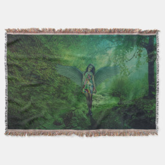 Beautiful Angel in Forest Throw Blanket