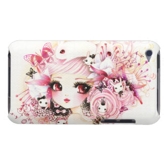 Beautiful anime girl with cute bunnies and flowers iPod touch cases