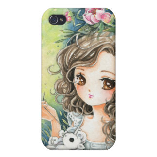 Beautiful anime girl with pony plush and peonies cover for iPhone 4