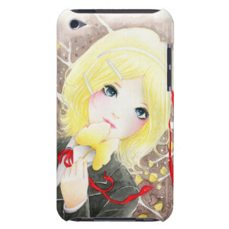 Beautiful anime schoolgirl with red ribbon iPod touch covers