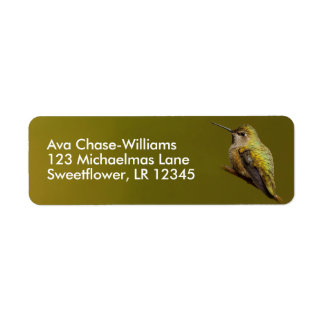 Beautiful Anna's Hummingbird on the Trumpetvine Return Address Label