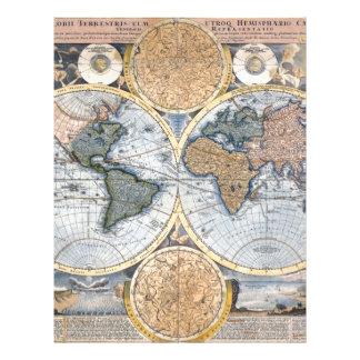 Beautiful Antique Atlas Map Customized Letterhead