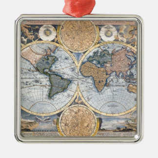 Beautiful Antique Atlas Map Metal Ornament