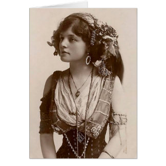 BEAUTIFUL ANTIQUE GYPSY GIRL VINTAGE NOTECARD