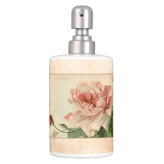 Beautiful Antique Pink Roses Soap Dispenser And Toothbrush Holder