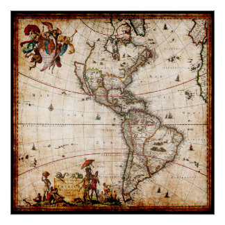 Beautiful Antique Vintage North America Map Poster