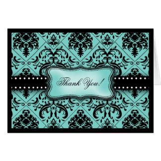 Beautiful Aqua Blue & Black Damask Thank You Card