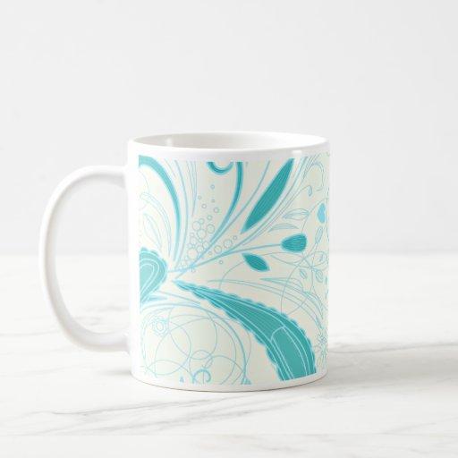 Beautiful aqua blue floral wedding gift mug
