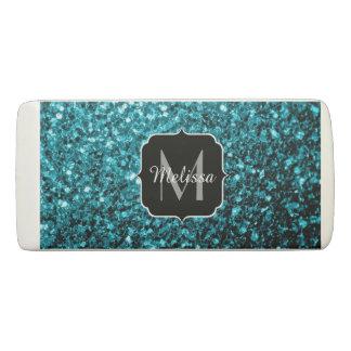 Beautiful Aqua blue glitter sparkles Monogram Eraser