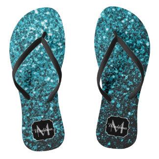 Beautiful Aqua blue glitter sparkles Monogram Flip Flops