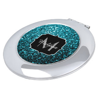 Beautiful Aqua blue glitter sparkles Monogram Makeup Mirrors